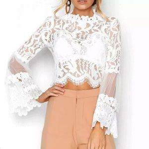 Lace floral patchwork blouse